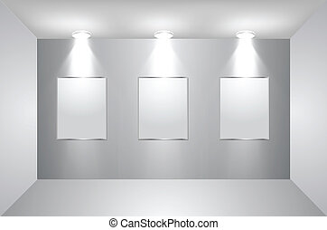Gallery Interior with empty frames on wall. Vector