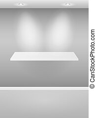Gallery Interior with empty shelf. Vector illustration.