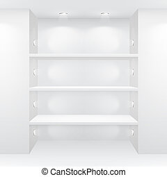 Gallery Interior with empty shelves. Vector illustration.