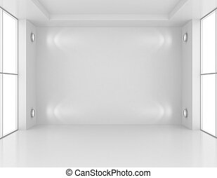 Gallery Interior with empty wall and lights. 3d rendering