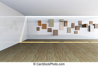 Gallery interior with empty wood shelves