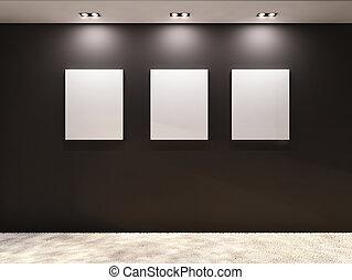 gallery., lege, lijstjes, op, een, black , muur, in, interieur