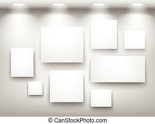 gallery of empty frames on wall with lighting - Empty Frame