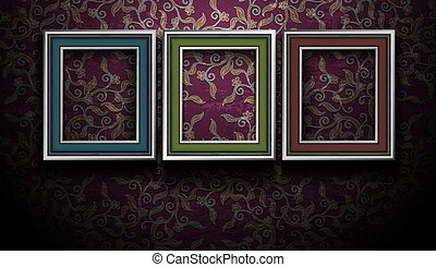 Gallery Picture Frames on Grunge Vintage Wall