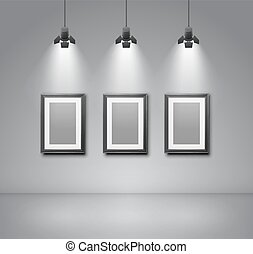 Gallery room - Exhibition wall interior with blank frames...