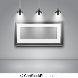 Gallery room gray wall interior with blank frame illuminated...