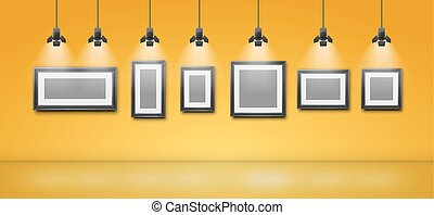 Gallery room yellow wall interior with blank frames...