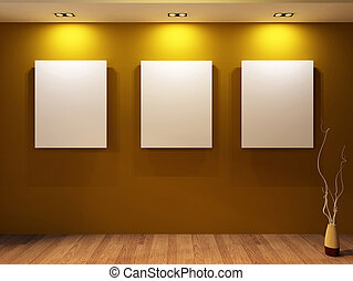 Gallery. Three blanks on a wall and decorative vase on...