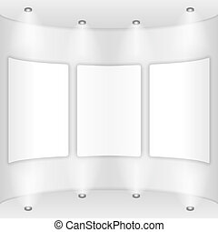 Gallery - Three frames on a round wall, gallery, vector...