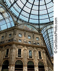 Looking up in the gallery Vittorio Emanuele II in Milan, Lombardy, Italy