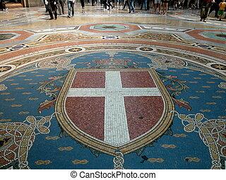 Gallery Vittorio Emanuele II, Milan - Walking on mosaic in ...