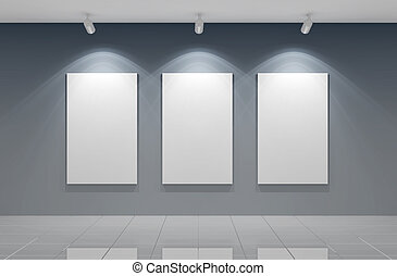 Gallery wall - 3d render of an empty gallery wall