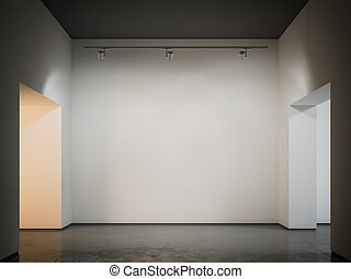 Gallery with black ceiling. 3d rendering