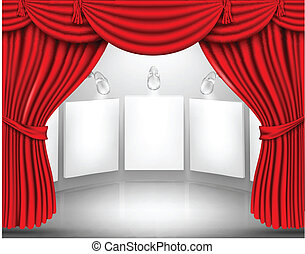 gallery with empty frame curtain, vector, art, market