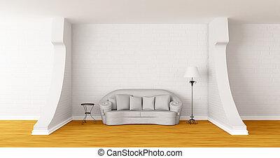 gallery's, 現代, 標準的な ランプ, ソファー, テーブル, 白, ホール