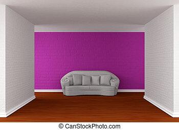 gallery's, bianco, salone, vuoto, divano