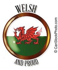 gallese, bandiera, orgoglioso, bottone