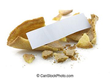 galleta china con un mensaje sobre la suerte, blanco