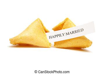 galleta china con un mensaje sobre la suerte, de, matrimonio