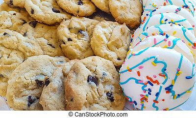galleta, panadería, primer plano, exhibición