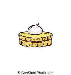 galleta, pequeño, bosquejo, crema, caricatura, vector, ...