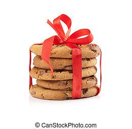 galletas, atado, chocolate, rojo, navidad, cinta