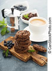 Galletas, café,  chocolate