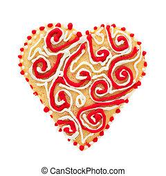 galletas, corazón, icing., forma, masa, mantecada, adornado