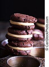 Galletas, crema, relleno,  brownie,  chocolate