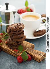 galletas del chocolate, con, café