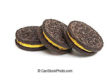 galletas del chocolate, con, crema, relleno