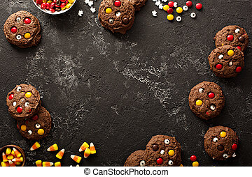 galletas del chocolate, con, dulce