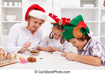 galletas, familia , pan de jengibre, decorar, navidad, feliz
