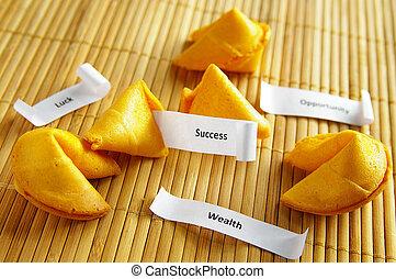 galletas fortuna, con, oportunidad, riqueza, éxito, mensajes