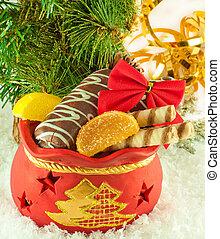 galletas, fur-tree, dulce, bolsa, fruta, regalos, rama, navidad