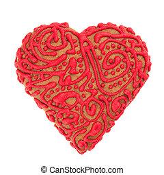 galletas, glaseado, corazón, forma, masa, mantecada, adornado, rojo