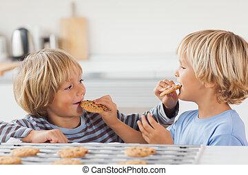 galletas, juntos, hermanos, comida