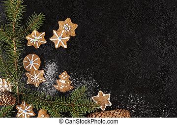 galletas navidad, y, pino, ramita, de, above.