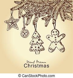galletas pan gengibre, árbol, navidad