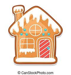 galletas pan gengibre, house., ilustración, de, feliz...