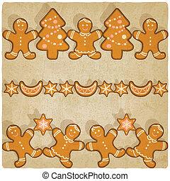 galletas pan gengibre, navidad, plano de fondo