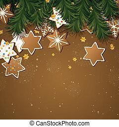 galletas pan gengibre, vector, navidad, plano de fondo