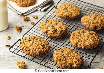 galletas, pasa, casero, harina de avena