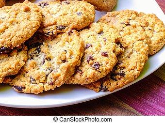 galletas, pasa de avena