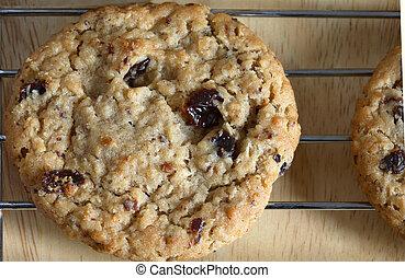 galletas, pasa, harina de avena