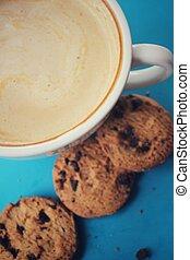 galletas pastilla chocolate, con, café