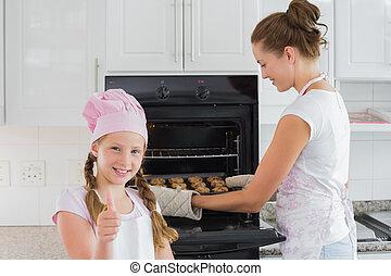 galletas, quita, arriba, mientras, pulgares, horno, madre, ...