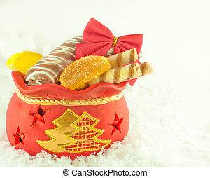 galletas, regalos, fruta, bolsa, regalo de navidad, dulce