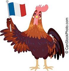 Gallic Rooster France Flag Illustration