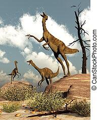 Gallimimus dinosaurs - 3D render